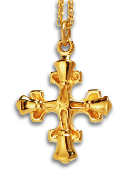 "Greek Handbell Cross Charm & 18"" chain - GV"