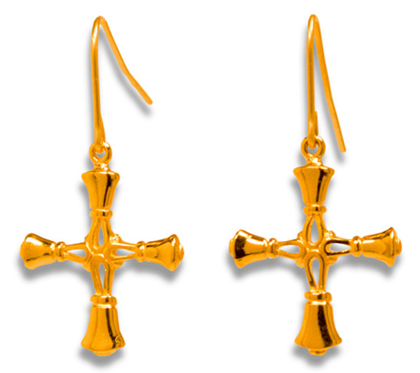 Handbell Cross Earrings -  Med/GV