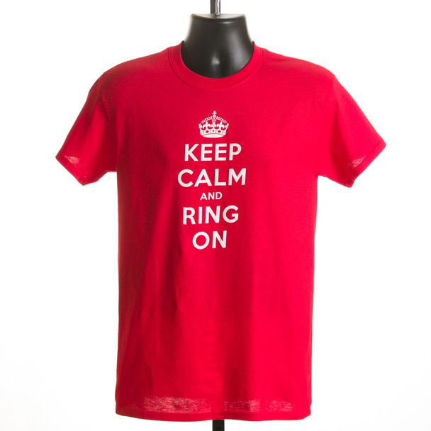 """T-shirt """"Keep Calm & Ring On"""" (red & purple)"""