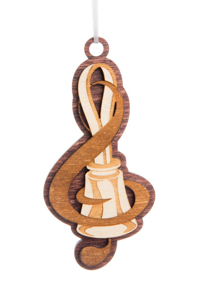 """Wooden Ornament - """"Bell & Treble Clef"""""""