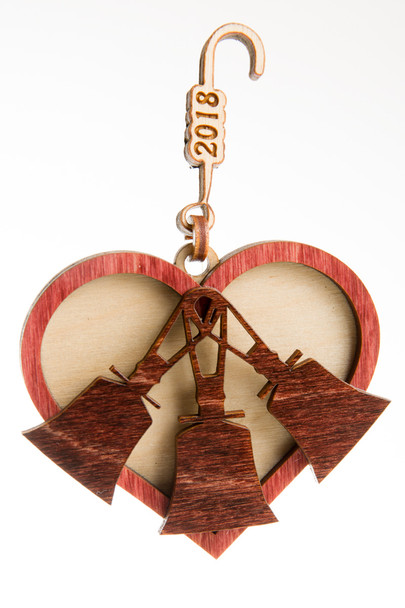 "Wooden Ornament - ""Heart & Bells""  2019"