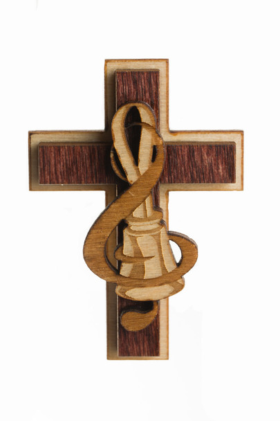"Wooden Magnet - Cross with Bell & Clef (2"")"
