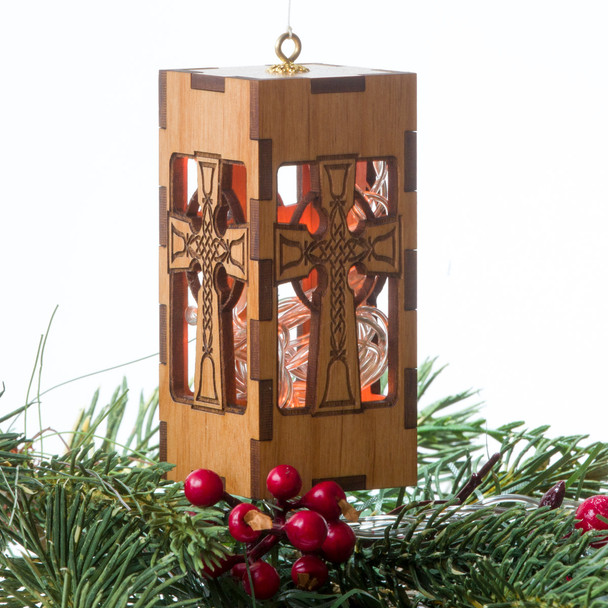 Wood Light Box Ornament - Celtic Bell Cross