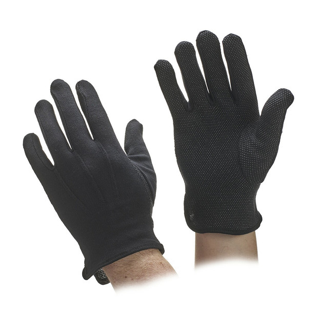 Cotton Beaded Grip Gloves - Black