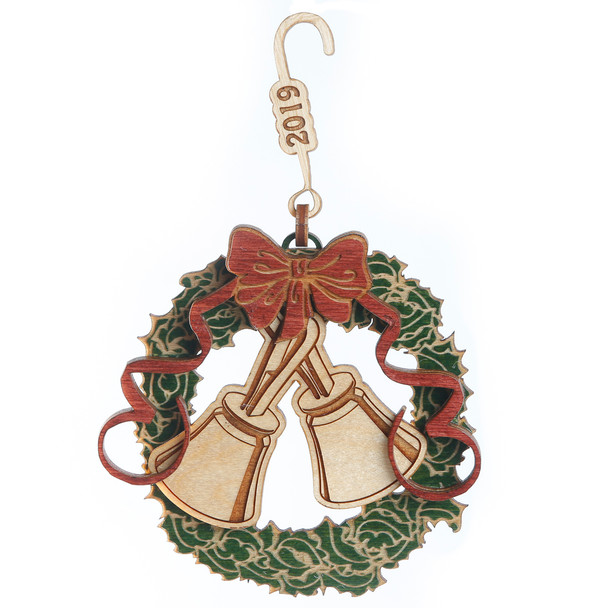"Wooden Ornament  ""Wreath with Bells & Holly""  2020"