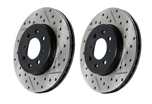 StopTech 94-96 Nissan 240SX SportStop Slotted & Drilled Front Left Rotor