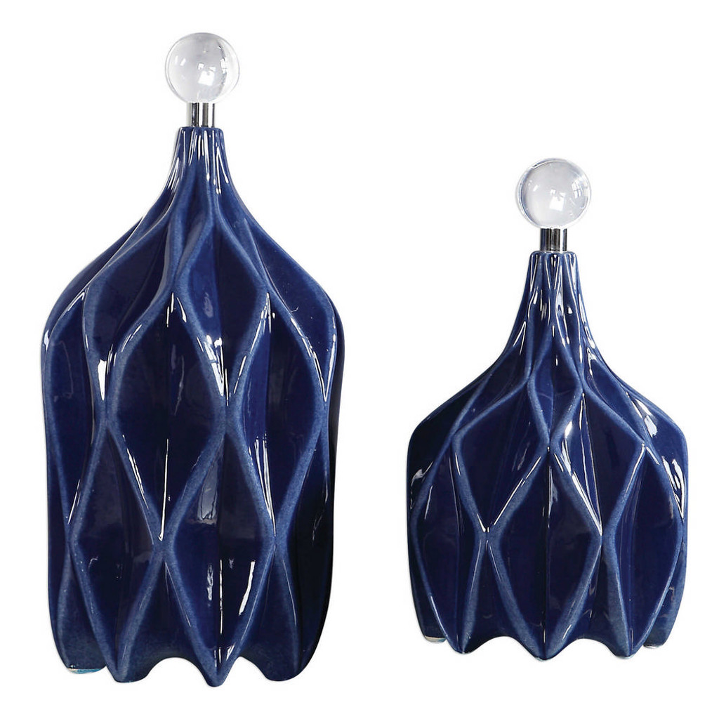 Klara Geometric Bottles S/2 by Uttermost