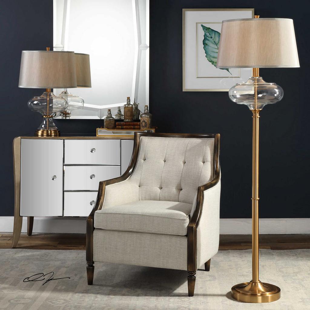 Jelani Brass Floor Lamp by Uttermost