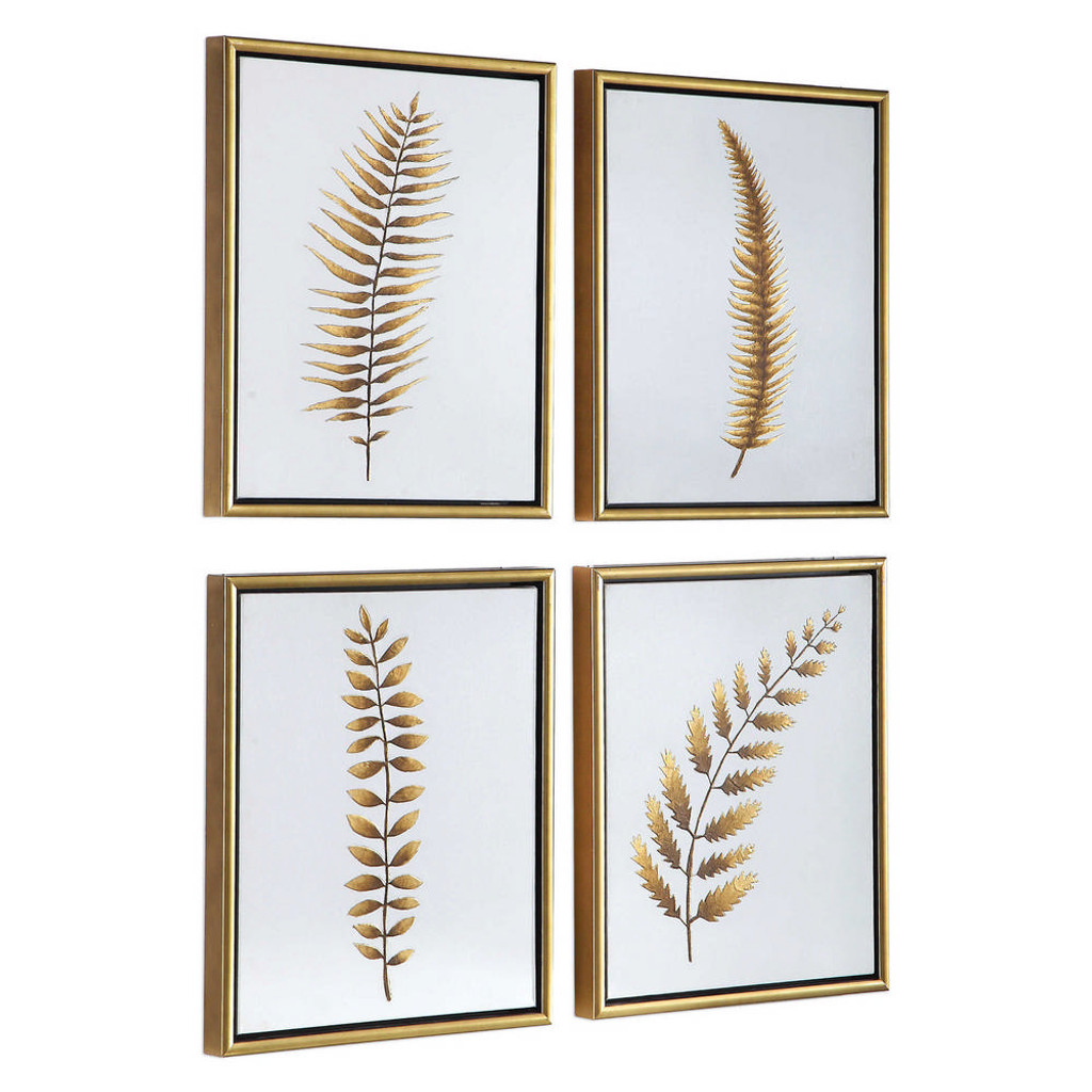 Forest Ferns Hand Painted Canvases S/4