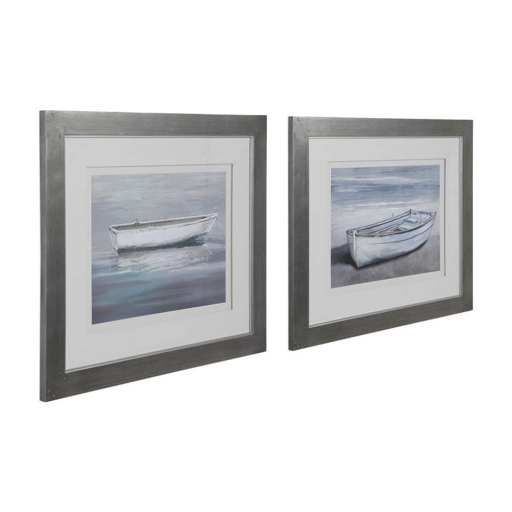 Anchored By The Beach Framed Prints S/2