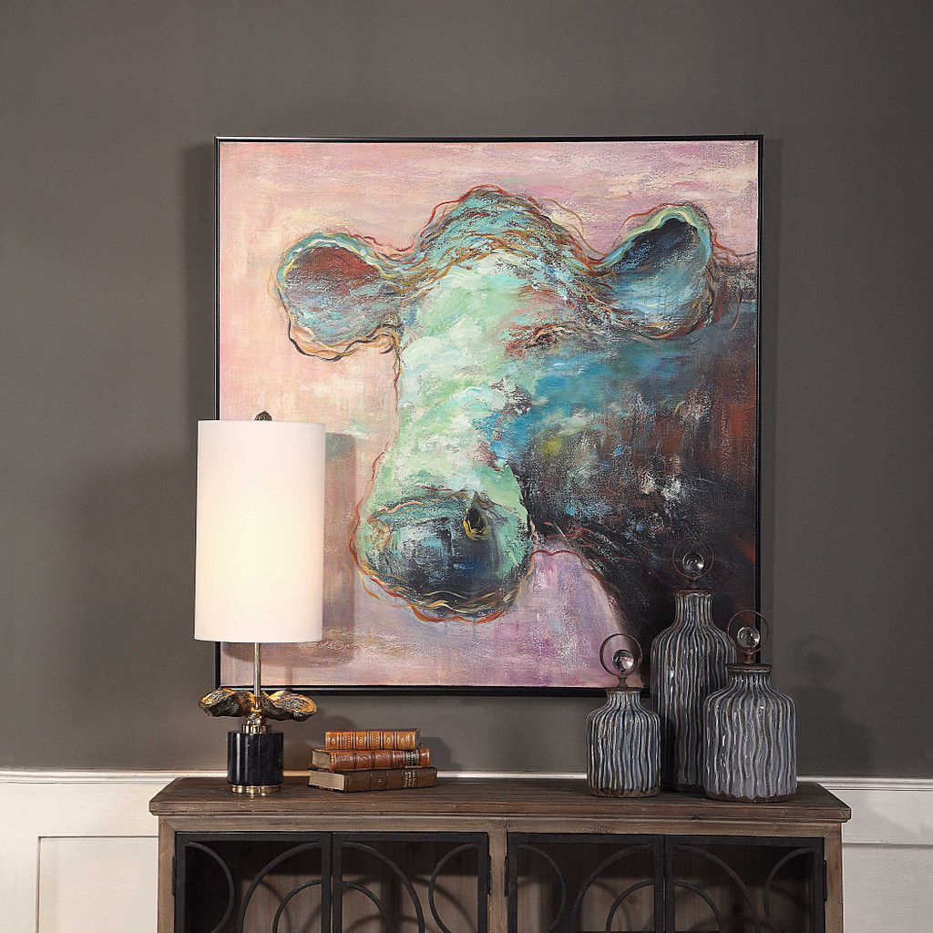 Matty The Cow Hand Painted Canvas by Uttermost
