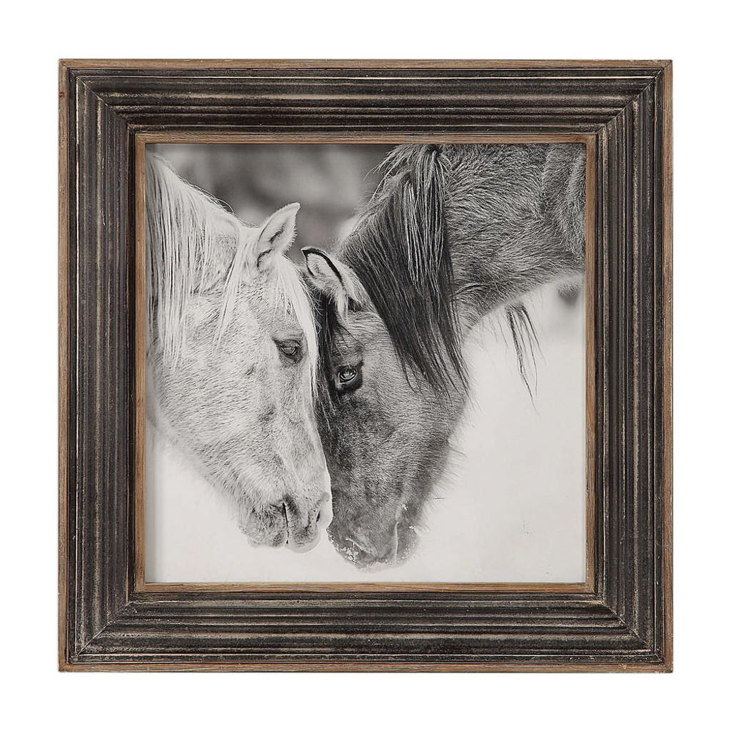 Custom Black and White Horses Framed Print by Uttermost