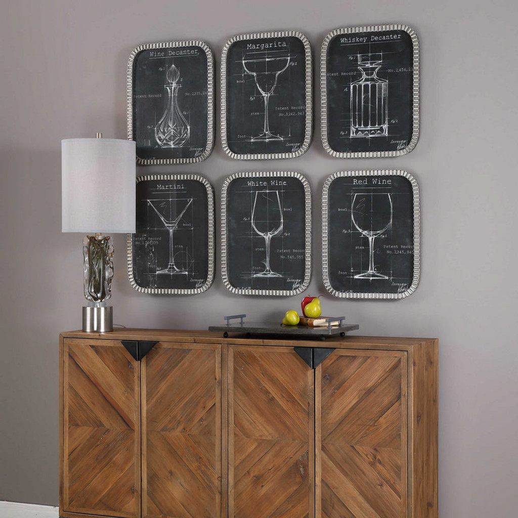 Barware Blueprints Framed Prints S/6