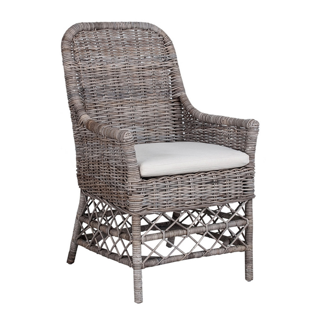 Milan Carver Chair - Kubo Grey with White Cushion Cover