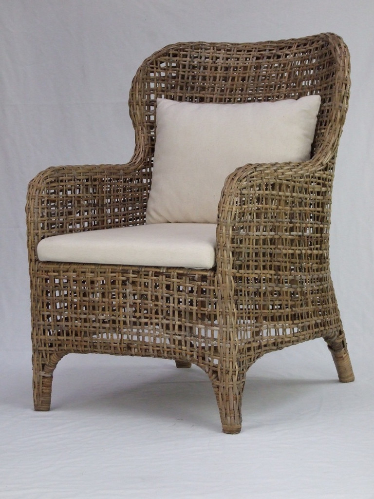 Cuban Wing Back Chair - Kubo Grey with White Cushion Cover