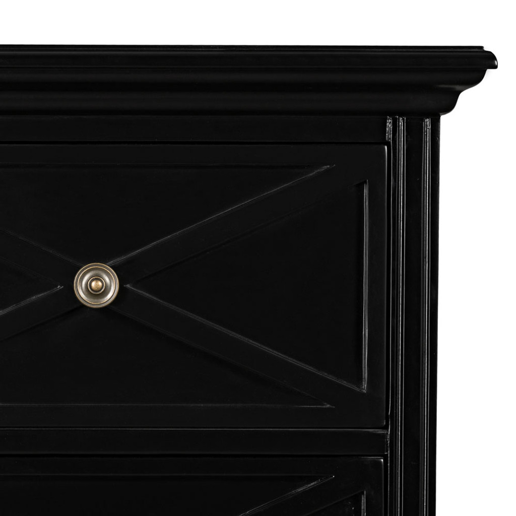 Hamptons Cross Sorrento Tallboy Drawers- Black