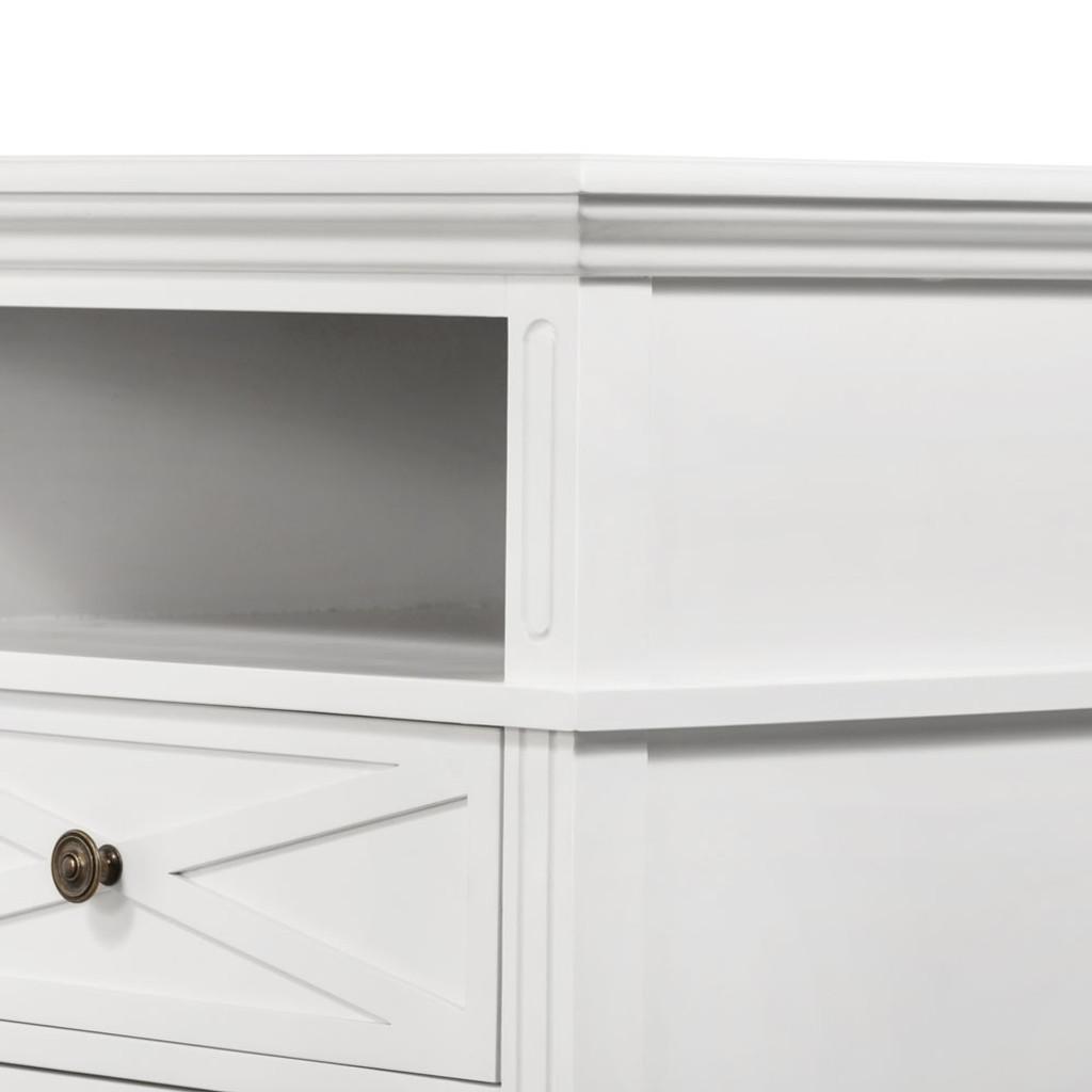 Hamptons Cross Sorrento Bedside 2 Drawer Large - White