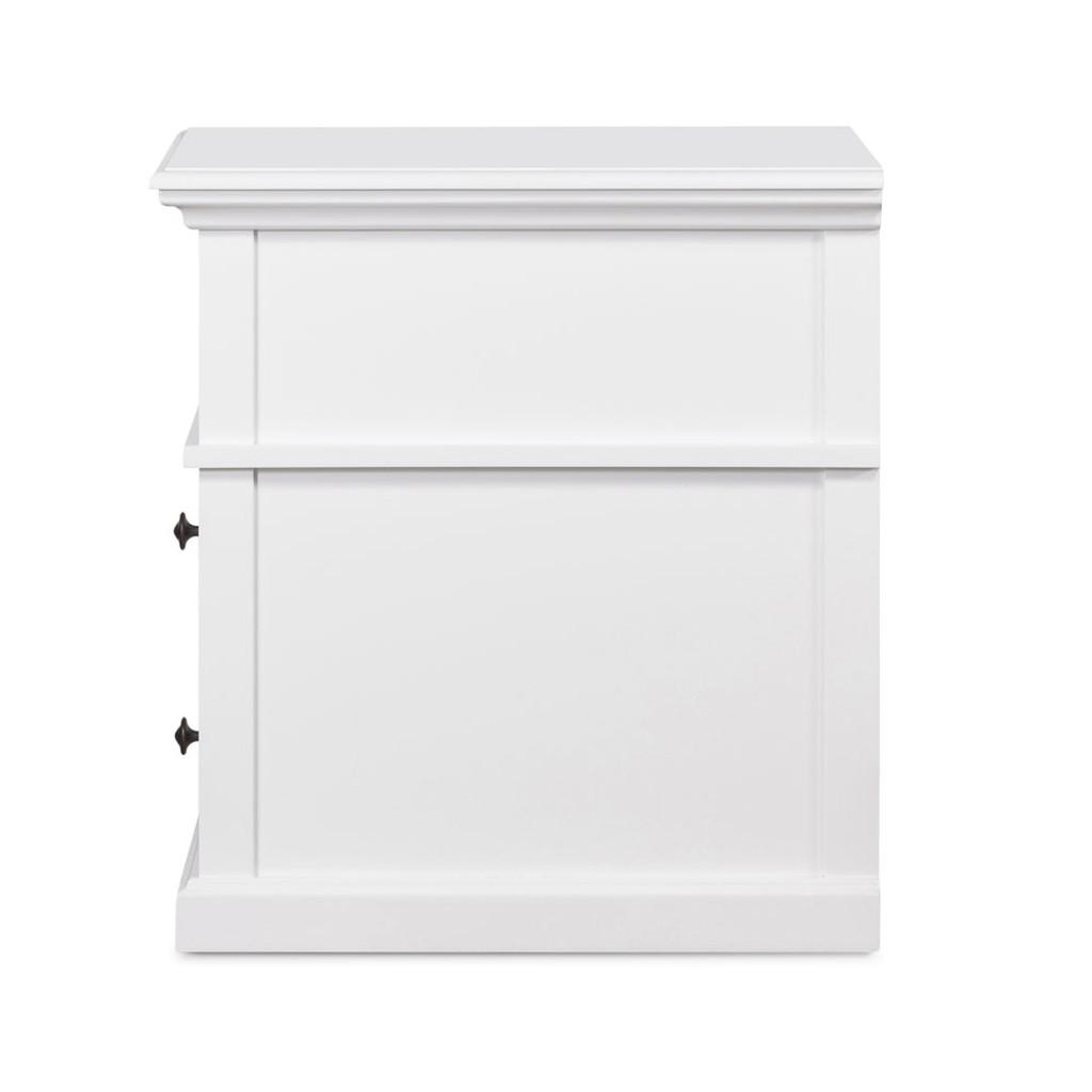 Hamptons Cross Sorrento Bedside 2 Drawer Medium - White