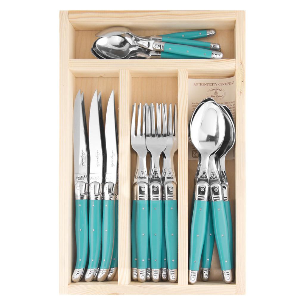 Laguiole Jean Dubost 24 Piece Cutlery Set - Turquoise