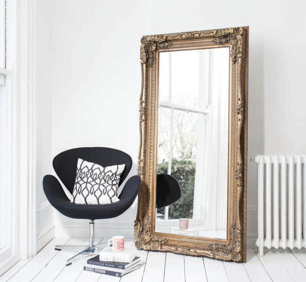 """Carved Louis Leaner Mirror Gold 69x35.5"""""""" Gallery Direct"""""""""""