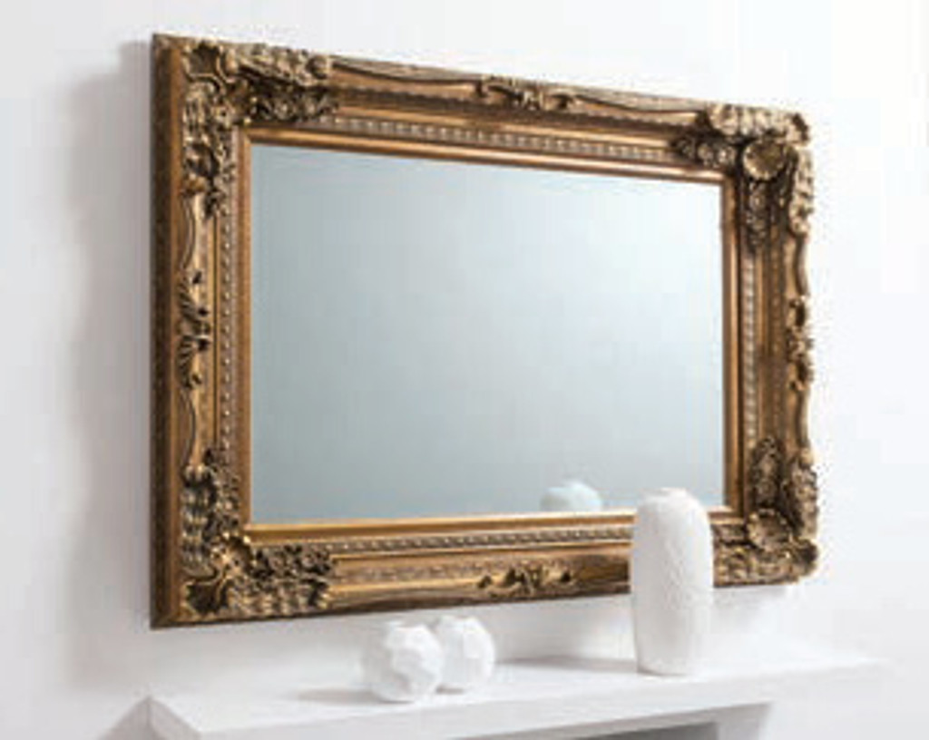 "Carved Louis Mirror Gold 47x35.5"""" Gallery Direct"""""