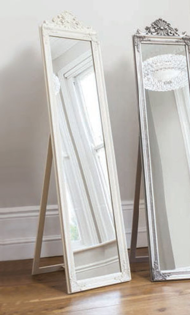 """Lambeth Wood Cheval Mirror White 71x18"""""""" Gallery Direct"""""""""""