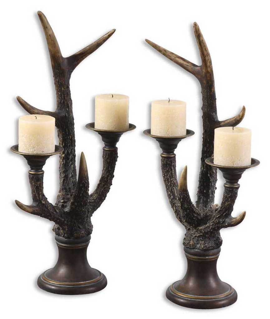 Stag Horn Candleholder S/2 by Uttermost