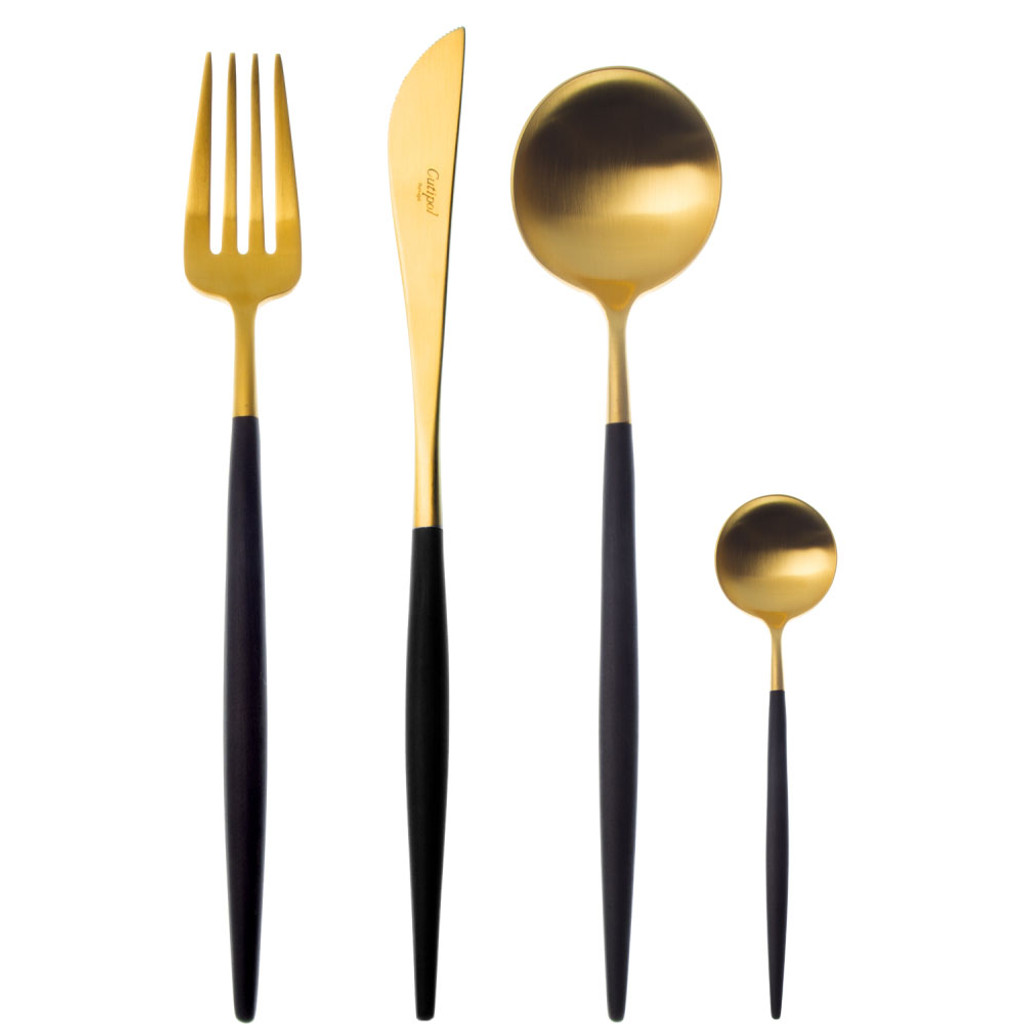 Cutipol Goa 24 Piece Cutlery Set - Brushed Gold Black Handle