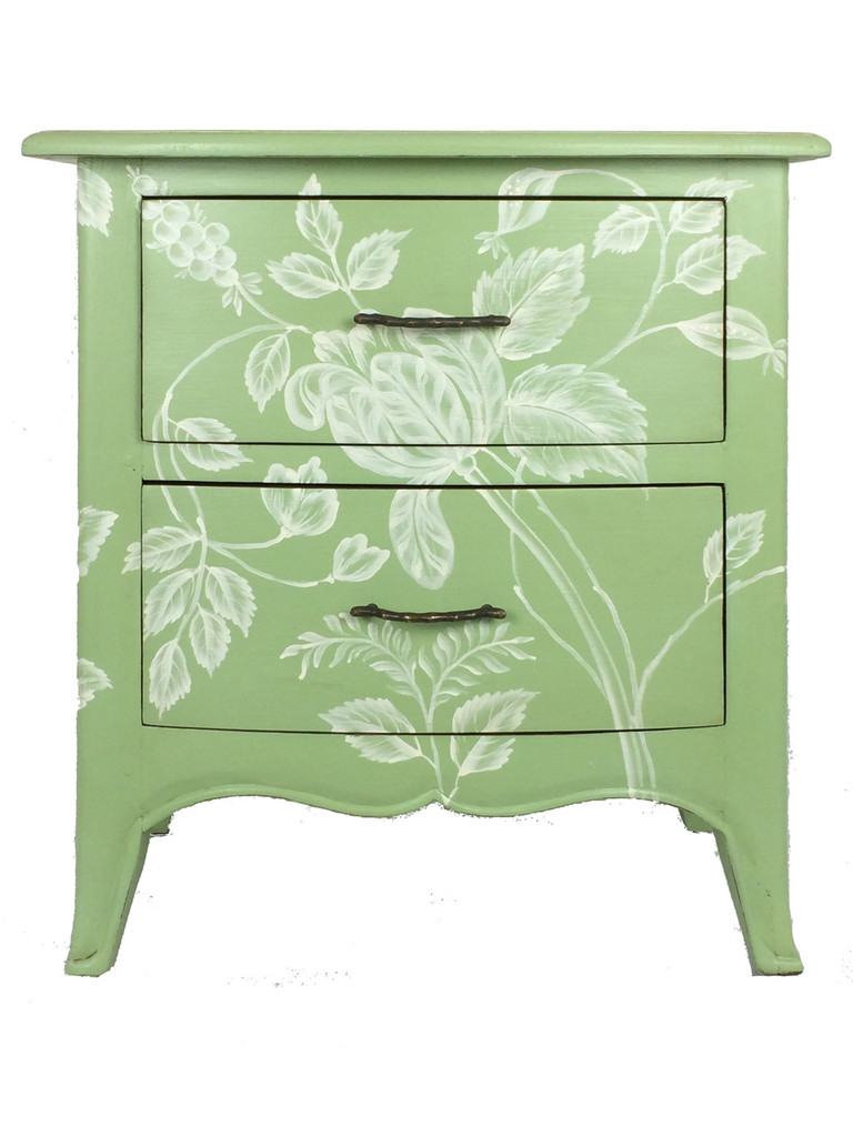 Bow-Front Bedside Cabinet - Pistachio Light Distressed /A60