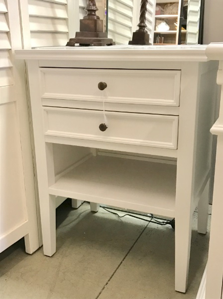 Alton 2 Drawer Bedside - White on display