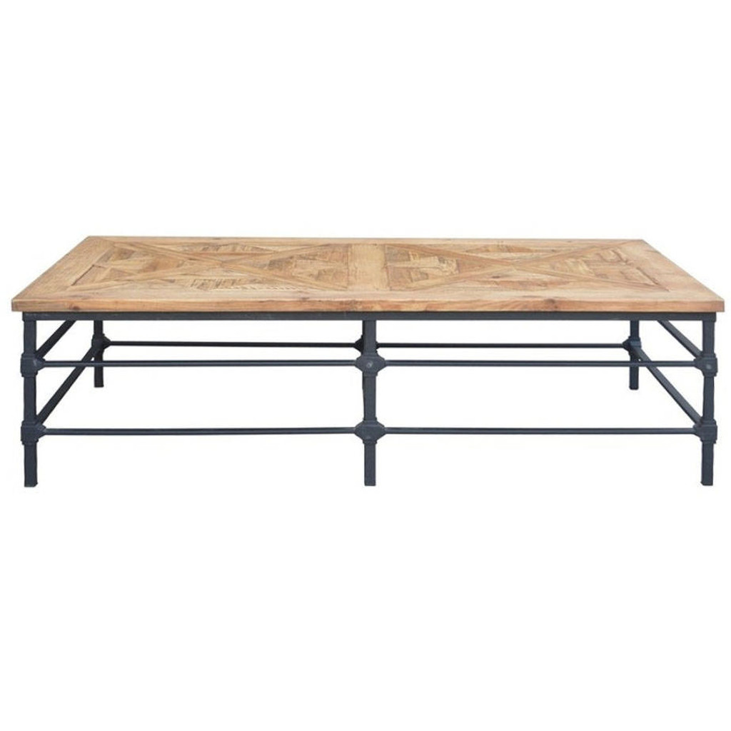 Alsace Vintage Industrial Coffee Table - Parquet Top