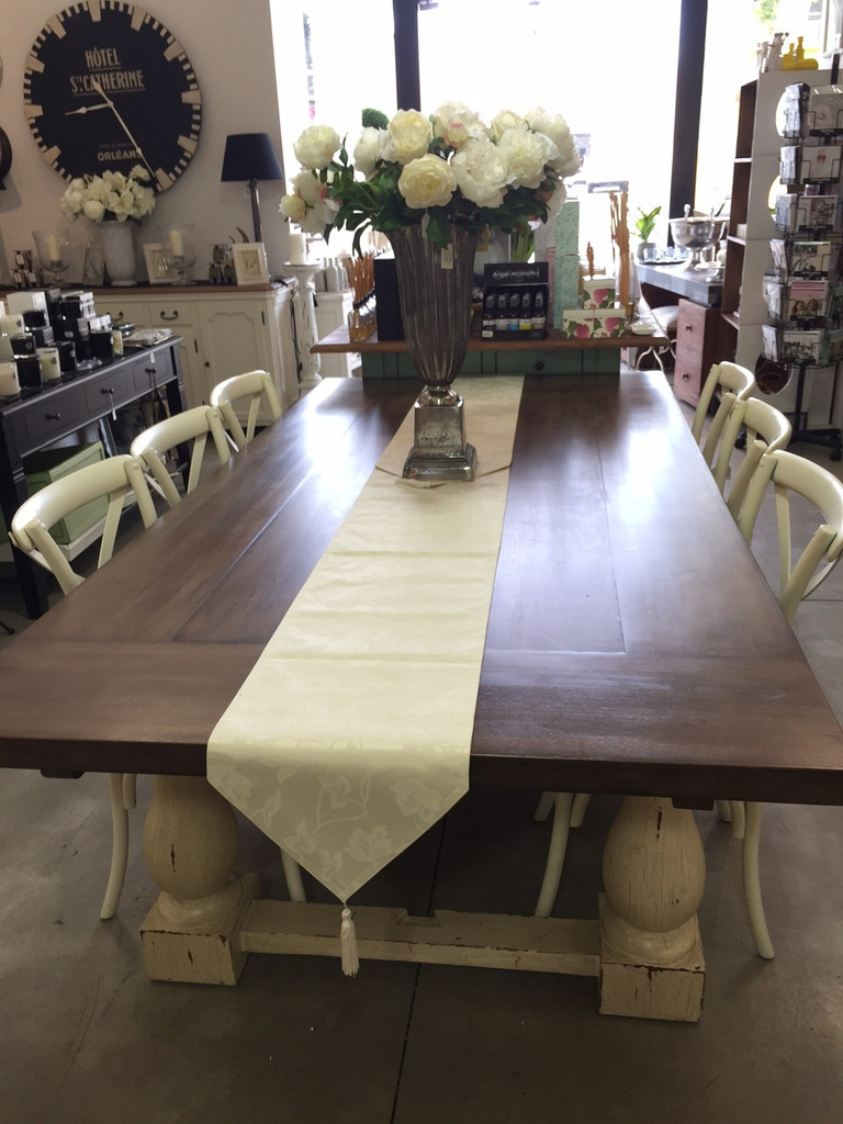 Hemmingway Dining Package 2.4m + 8 Bentwood Chairs Antique Cream