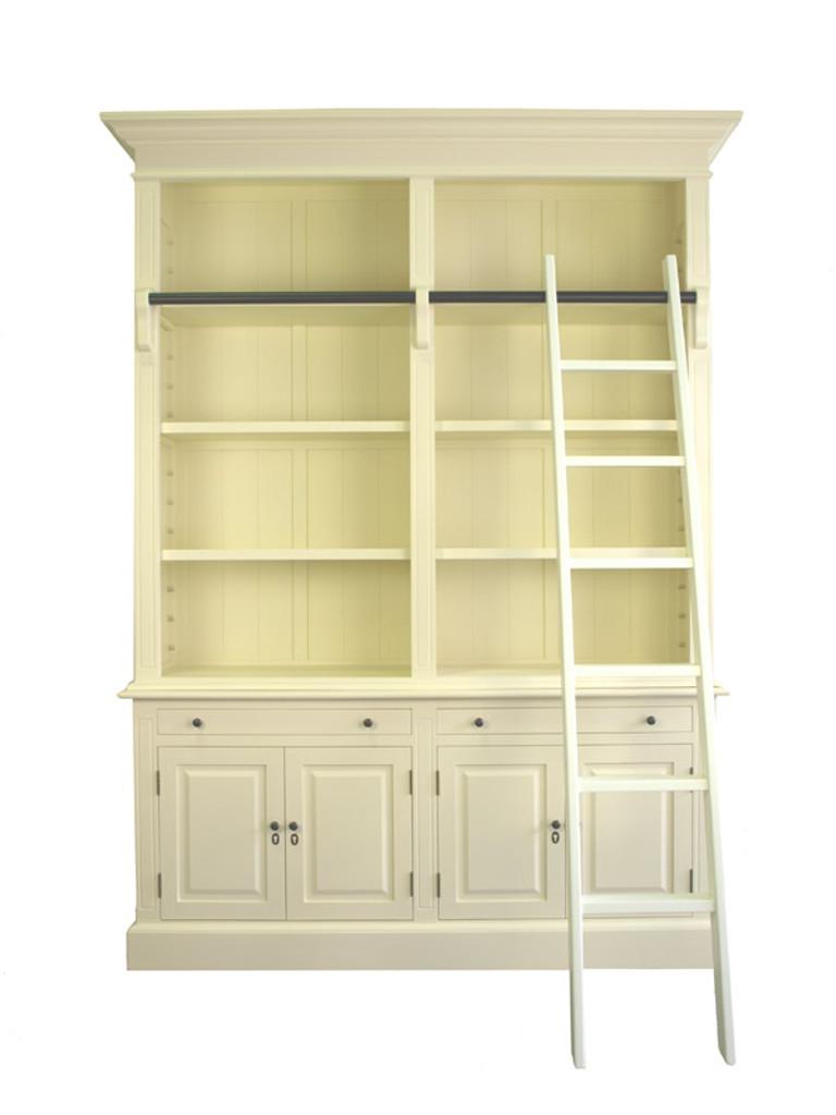 Marseille 4 Door Bookcase + Ladder (A/Cream)