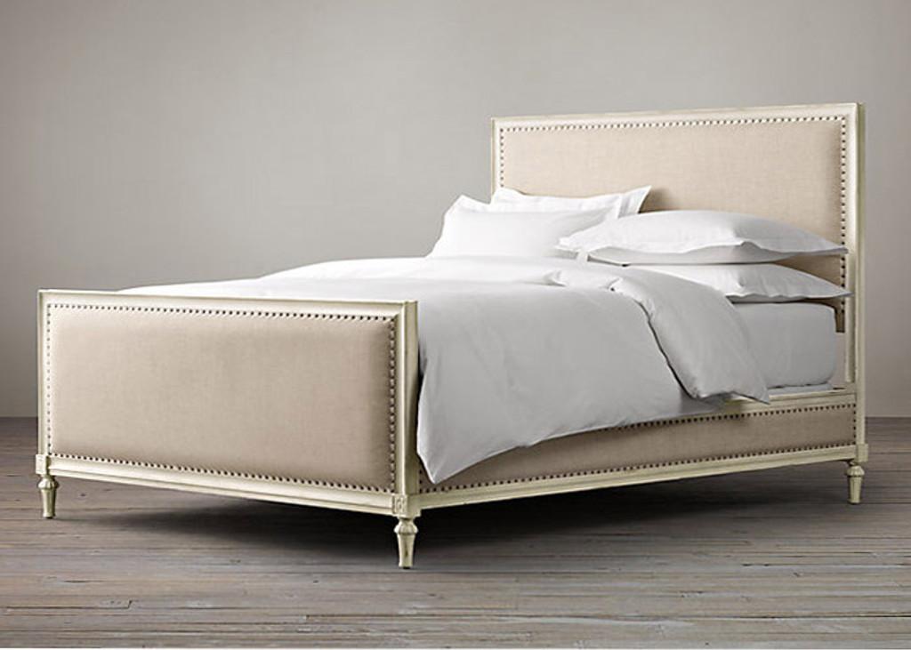 Bordeaux Upholstered King Bed Set (White)