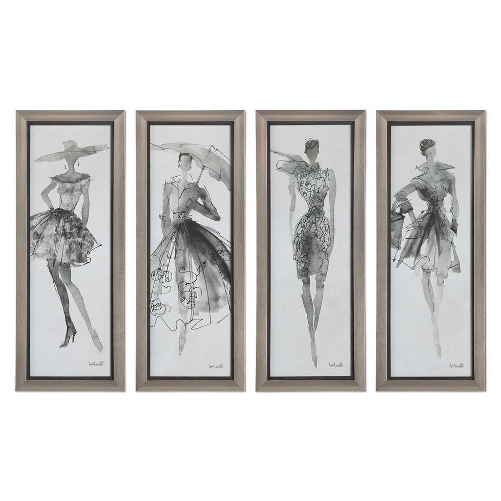 Fashion Sketchbook Framed Prints S/4 by Uttermost