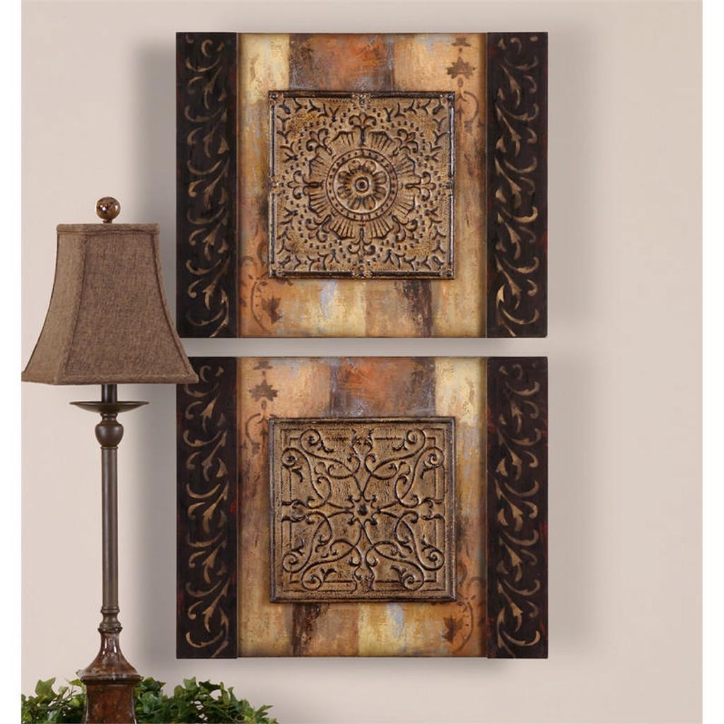 Ornamentational Block Set of 2 a Wall Art 3D by Uttermost