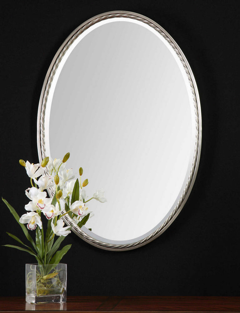 Casalina Nickel Oval Mirror by Uttermost