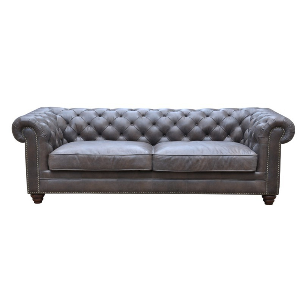 Havana Chesterfield 3 Seat Leather Sofa