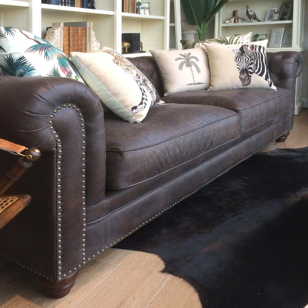 Havana Chesterfield 3 Seat Leather Sofa - Tabac Brown
