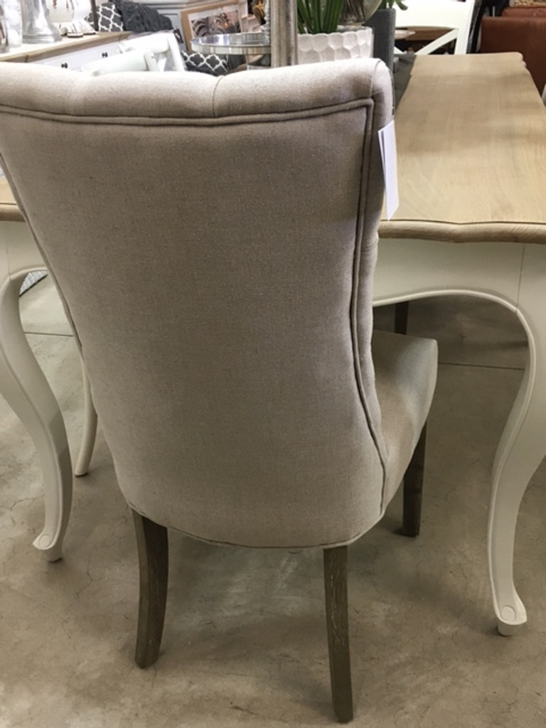 Esther High Back Tufted Dining Chair - Natural Linen