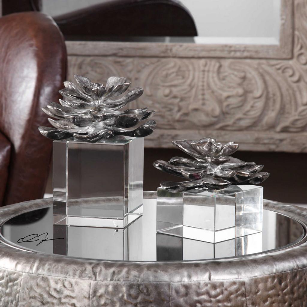 Indian Lotus Sculptures S/2