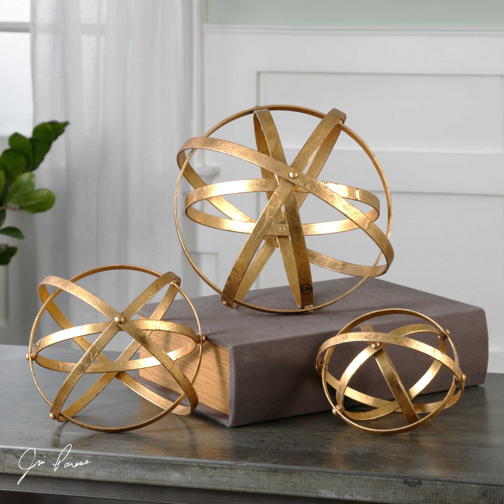 Stetson Gold Spheres S/3 by Uttermost
