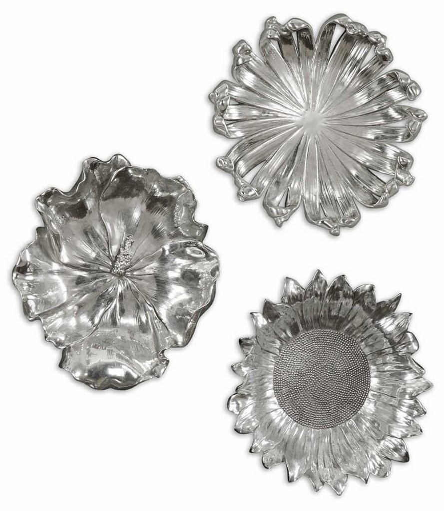 Silver Flowers Wall Decor S/3 by Uttermost