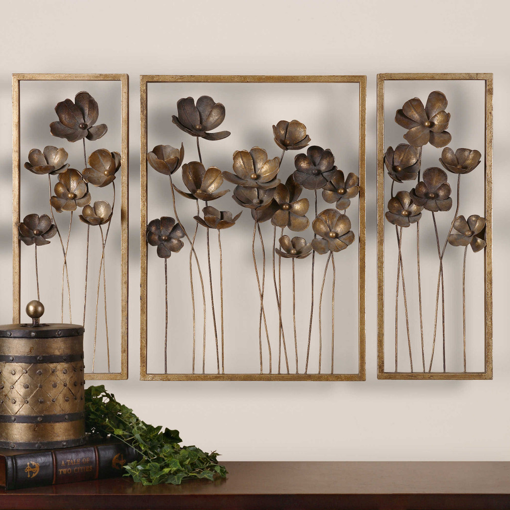 Metal Tulips Wall Decor S/3 by Uttermost