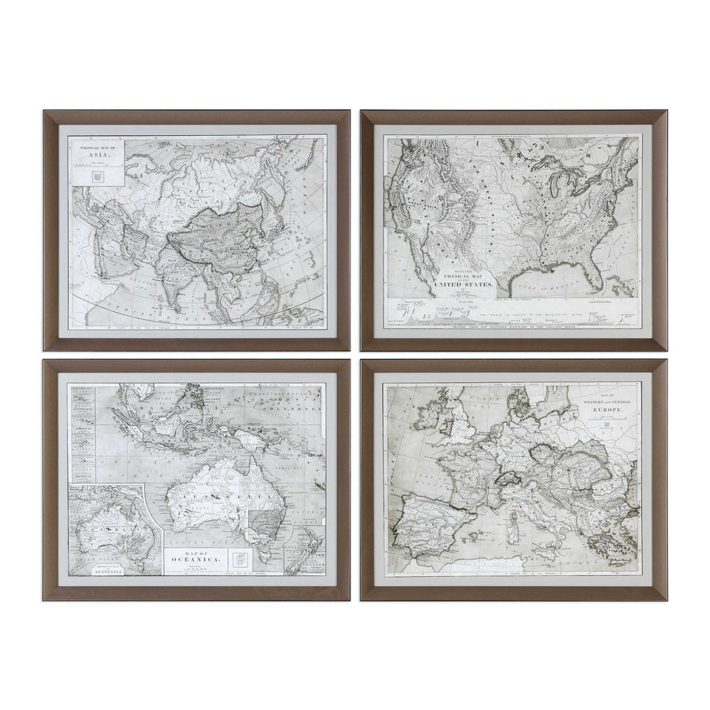 World Maps Framed Prints S/4 by Uttermost