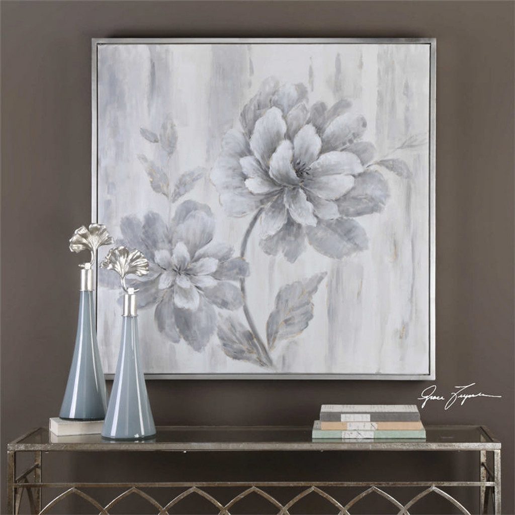 Silver Leaf Floral - Hand Painted Artwork a Paintings by Uttermost