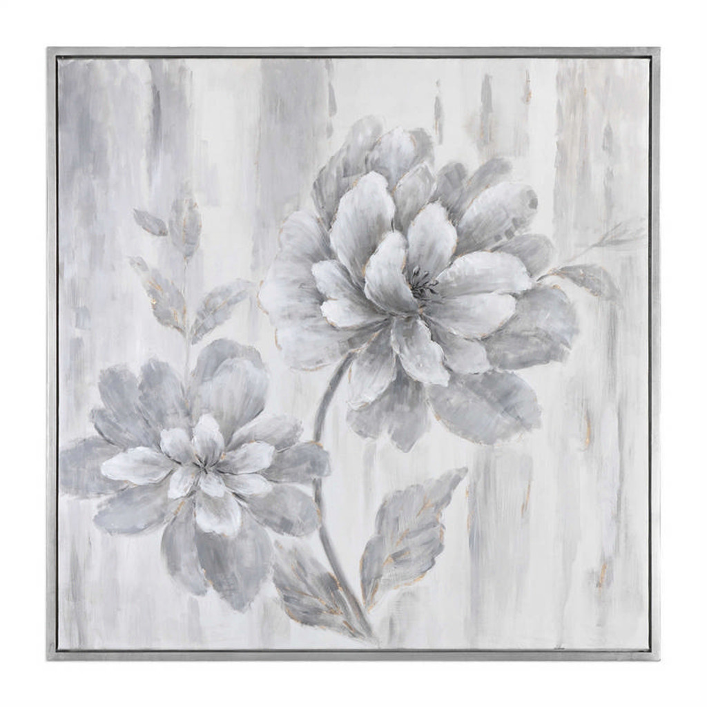 Silver Leaf Floral - Hand Painted Artwork