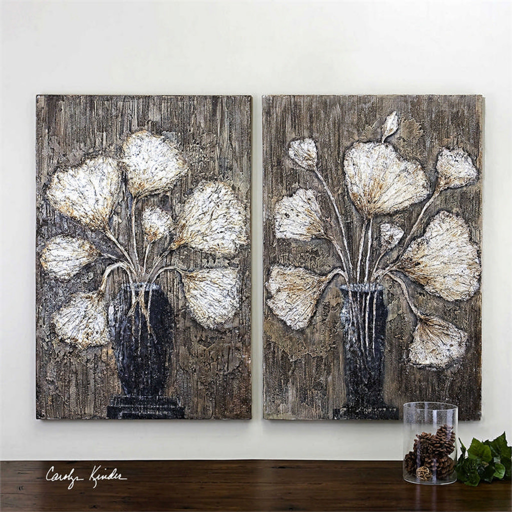 Clear Water Stems Set/2 - Hand Painted Artwork a Paintings by Uttermost