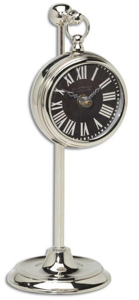 Pocket Watch Nickel Marchant Black Clock by Uttermost