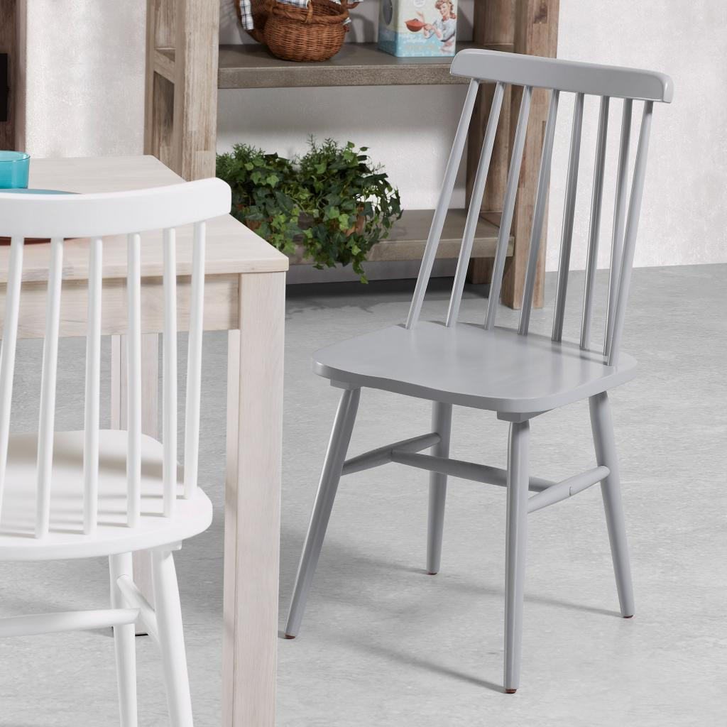 Kristie Wooden Chairs - Light Grey and White